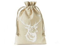 Linen bag with stag print