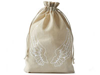 Linen bags with angel wing print