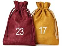 Advent calendars with jute-look bags