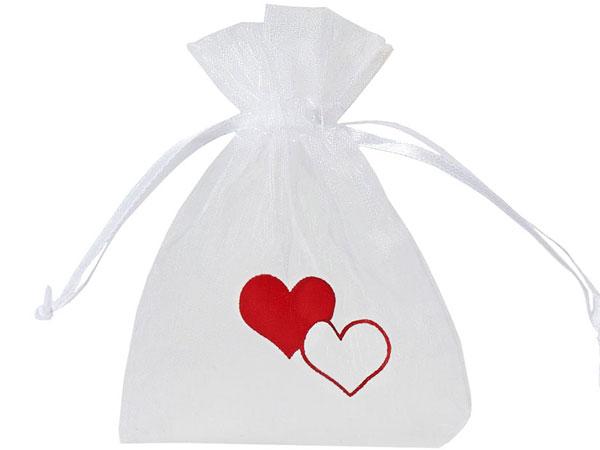 Organzabeutel mit Herz Motin zu Valentinstag