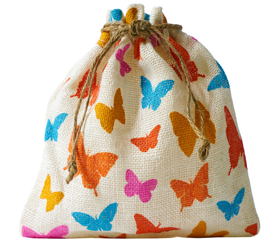 jute bag with butterfly print