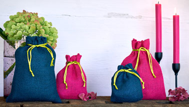 Jute bag blue and pink