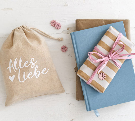 Linen bag gift packaging