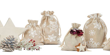 linen bags with star printed in color white