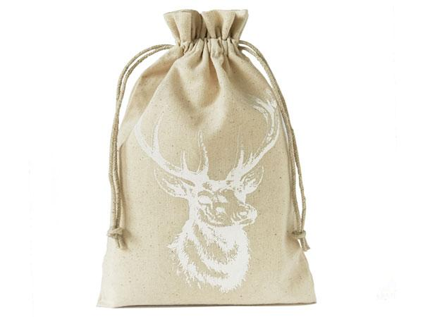 linen pouch with-stag motive 23 x 15 cm